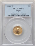 Four-Piece Set 2006-W Gold Eagle MS70 PCGS. The lot includes the tenth-ounce $5, quarter-ounce $10, half-ounce 625, and...