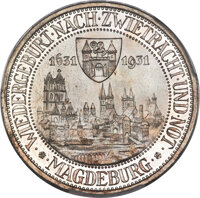 """Germany: Weimar Republic Proof """"Magdeburg"""" 3 Mark 1931-A Proof PR68 Cameo PCGS"""