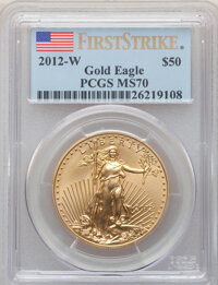2012-W G$50 One-Ounce Gold Eagle, First Strike, Burnished, MS70 PCGS. PCGS Population: (680). NGC Census: (1501). 70...
