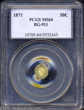 California Fractional Gold: , 1871 Liberty Octagonal 50 Cents, BG-911, R.4, MS64 PCGS. ...