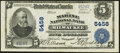 National Bank Notes:Wisconsin, Milwaukee, WI - $5 1902 Plain Back Fr. 607 The Marine National Bank Ch. # 5458 Very Fine+.. ...