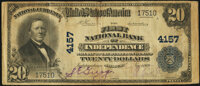 Independence, MO - $20 1902 Plain Back Fr. 653 The First National Bank Ch. # 4157 Very Fine