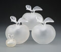 Glass, Four Lalique Frosted Glass Fille d'Eve Perfume Bottles, post-1945. Marks: Lalique, France, (various paper la... (Total: 4 Items)
