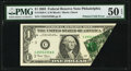 Error Notes:Foldovers, Printed Fold Error Fr. 1928-C $1 2003 Federal Reserve Note. PMG About Uncirculated 50 EPQ.. ...