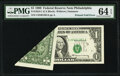 Error Notes:Foldovers, Printed Fold Error Fr. 1924-C $1 1999 Federal Reserve Note. PMG Choice Uncirculated 64 EPQ.. ...