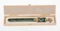Silver & Vertu, A Spinach Jade, Guilloché Enamel, 14K Vari-Color Gold, and Cabochon-Mounted Paper Knife in the Manner of Fabergé, late 20th ...