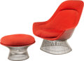 Furniture, Warren Platner (American, 1919-2006). Easy Chair and Ottoman, designed 1966, Knoll. Steel, wool. 38-3/4 x 39-3/4 x 37 in...