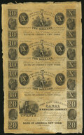 Obsoletes By State:Louisiana, New Orleans, LA- New Orleans Canal & Banking Company $10-$10-$10-$20 18__ Uncut Sheet Crisp Uncirculated.. ...