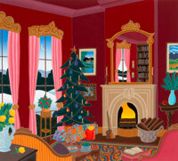 Thomas McKnight (American, b. 1941) Christmas in Connecticut Serigraph on paper 29-7/8 x 27-7/8 i