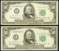 Small Size:Federal Reserve Notes, Fr. 2112-L $50 1950E Federal Reserve Notes. Two Examples. Very Fine; About Uncirculated.. ... (Total: 2 notes)