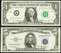 Seven in a Row Fr. 1906-K $1 1969C Federal Reserve Note. Choice Crisp Uncirculated; Fr. 1656 $5 1