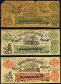 """Confederate Notes:1861 Issues, Bogus XX-1 $20 1861 """"Female Riding Deer"""" Notes.. Orange Overprint Plain Back Fine, """"Confederate""""at top center has been o... (Total: 3 notes)"""