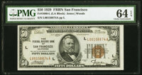 Fr. 1880-L $50 1929 Federal Reserve Bank Note. PMG Choice Uncirculated 64 EPQ