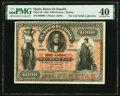 World Currency, Spain Banco de Espana 1000 Pesetas 19.1.1884 Pick 28 PMG Extremely Fine 40.. ...