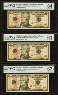 Fr. 2045-F* $10 2017A Federal Reserve Star Notes. Two Examples. PMG Choice Uncirculated 64; Fr. 2045-F* $10 201