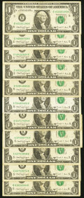 Small Size:Federal Reserve Notes, Fr. 1917-E $1 1988A Web Federal Reserve Notes. Eleven Examples. Fine or Better.. ... (Total: 11 notes)