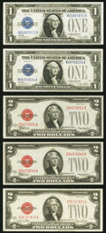 Fr. 1601 $1 1928A Silver Certificate. Two Examples. Extremely Fine or Better; Fr. 1505 $2 1928D Legal Tender No