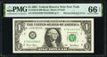 Error Notes:Mismatched Serial Numbers, Mismatched Serial Number Error Fr. 1926-B $1 2001 Federal Reserve Note. PMG Gem Uncirculated 66 EPQ.. ...