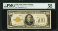 Small Size:Gold Certificates, Fr. 2407 $500 1928 Gold Certificate. PMG About Uncirculated 55.. ...