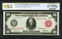 Fr. 893b $10 1914 Red Seal Federal Reserve Note PCGS Banknote Superb Gem Unc 67 PPQ