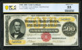 Large Size:Gold Certificates, Fr. 1216 $500 1882 Gold Certificate PCGS Banknote About Unc 55.. ...