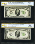Changeover Pair Fr. 2005-C/Fr. 2006-C $10 1934/1934A Mule Federal Reserve Notes. PCGS Banknote Choice Unc 63. ... (Total...