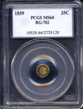 California Fractional Gold: , 1859 Liberty Octagonal 25 Cents, BG-702, R.3, MS64 PCGS. ...