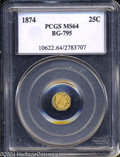California Fractional Gold: , 1874 Indian Octagonal 25 Cents, BG-795, R.3, MS64 PCGS. ...