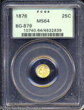 California Fractional Gold: , 1876 Indian Round 25 Cents, BG-879, R.4, MS64 PCGS. ...