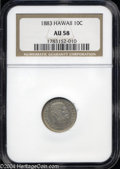 Coins of Hawaii: , 1883 Hawaii Ten Cents AU58 NGC. ...