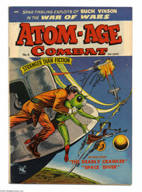 Atom-Age Combat #5 (St. John, 1953) Condition: VF-. Flying saucer cover and story. Overstreet 2004 VF 8.0 value = $147...