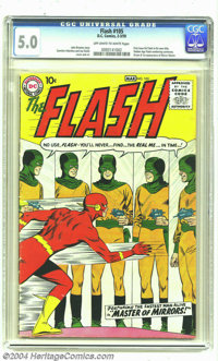 The Flash #105 (DC, 1959) CGC 5.0 VG/FN Off-white to white pages. First issue of the Silver Age Flash in his own title (...