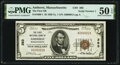 Amherst, MA - $5 1929 Ty. 1 The First National Bank Ch. # 393 PMG About Uncirculated 50 EPQ