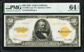 Fr. 1200 $50 1922 Gold Certificate PMG Choice Uncirculated 64 EPQ