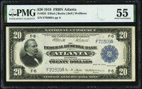 Fr. 823 $20 1918 Federal Reserve Bank Note PMG About Uncirculated 55