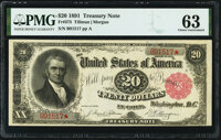 Fr. 375 $20 1891 Treasury Note PMG Choice Uncirculated 63
