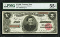Large Size:Treasury Notes, Fr. 361 $5 1890 Treasury Note PMG About Uncirculated 55 EPQ.. ...