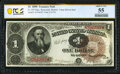 Fr. 347 $1 1890 Treasury Note PCGS Banknote About Unc 55