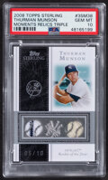 Baseball Cards:Singles (1970-Now), 2008 Topps Sterling Thurman Munson Moments Triple Relic Card #3SM-TM PSA Gem Mint 10 - Serial Numbered 5/10....