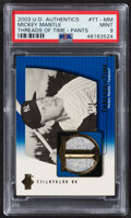 Baseball Cards:Singles (1970-Now), 2003 UD Authentics Threads Of Time Mickey Mantle Pants Relic Card #TT-MM PSA Mint 9....