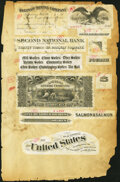 Six Leaves of National Bank Note Engraving Samples Not Graded