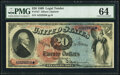 Large Size:Legal Tender Notes, Fr. 127 $20 1869 Legal Tender PMG Choice Uncirculated 64.. ...