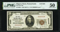 National Bank Notes:Pennsylvania, Slippery Rock, PA - $20 1929 Ty. 1 The First National Bank Ch. # 6483 PMG About Uncirculated 50.. ...