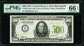 Small Size:Federal Reserve Notes, Fr. 2201-I $500 1934 Light Green Seal Federal Reserve Note. PMG Gem Uncirculated 66 EPQ.. ...