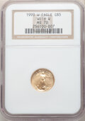 1999-W $5 Tenth-Ounce Gold Eagle, Unfinished Proof Dies, MS70 NGC. NGC Census: (398). PCGS Population: (58). CDN: $2,300...