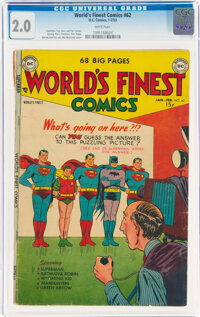 World's Finest Comics #62 (DC, 1953) CGC GD 2.0 White pages