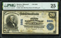National Bank Notes:Missouri, Mexico, MO - $20 1902 Plain Back Fr. 650 The First National Bank Ch. # 2881 PMG Very Fine 25.. ...