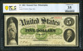 Fr. 2 $5 1861 Demand Note PCGS Banknote Choice VF 35 Details
