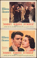 """Movie Posters:Film Noir, Sorry, Wrong Number (Paramount, 1948). Very Fine-. Lobby Cards (2) (11"""" X 14""""). Film Noir.. ... (Total: 2 Items)"""