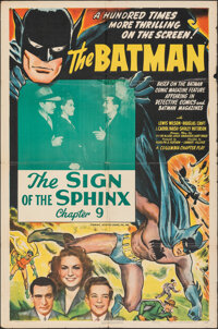"""The Batman (Columbia, 1943). Folded, Fine. One Sheet (27"""" X 41"""") Chapter 9 -- """"The Sign of the Sphinx.&qu..."""
